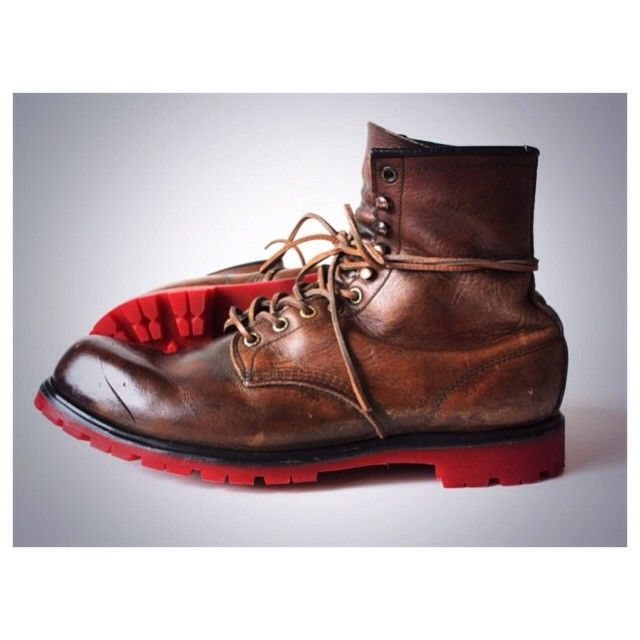 Resoled Red Wing Boot #953 with out red colored commando outsole ...