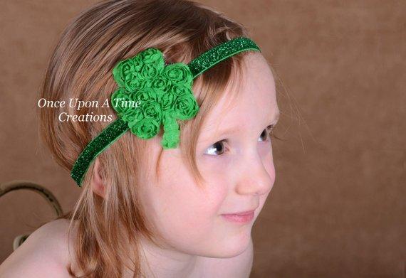 St Patricks Day Green Light Pink Shamrock Newborn Headband Baby Girls Hair Bow