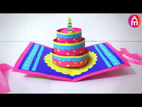 Diy Cake Pop Up Card For Birthday Easy 3d Cards Diy Maison Zizou Craft Mavis Blog Happy Birthday Cards Diy Diy Cake Pops Birthday Cards Diy