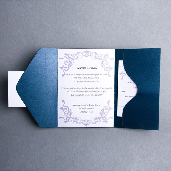 faire part de mariage chic moderne violette pochette style jm302 faire part mariage poche. Black Bedroom Furniture Sets. Home Design Ideas