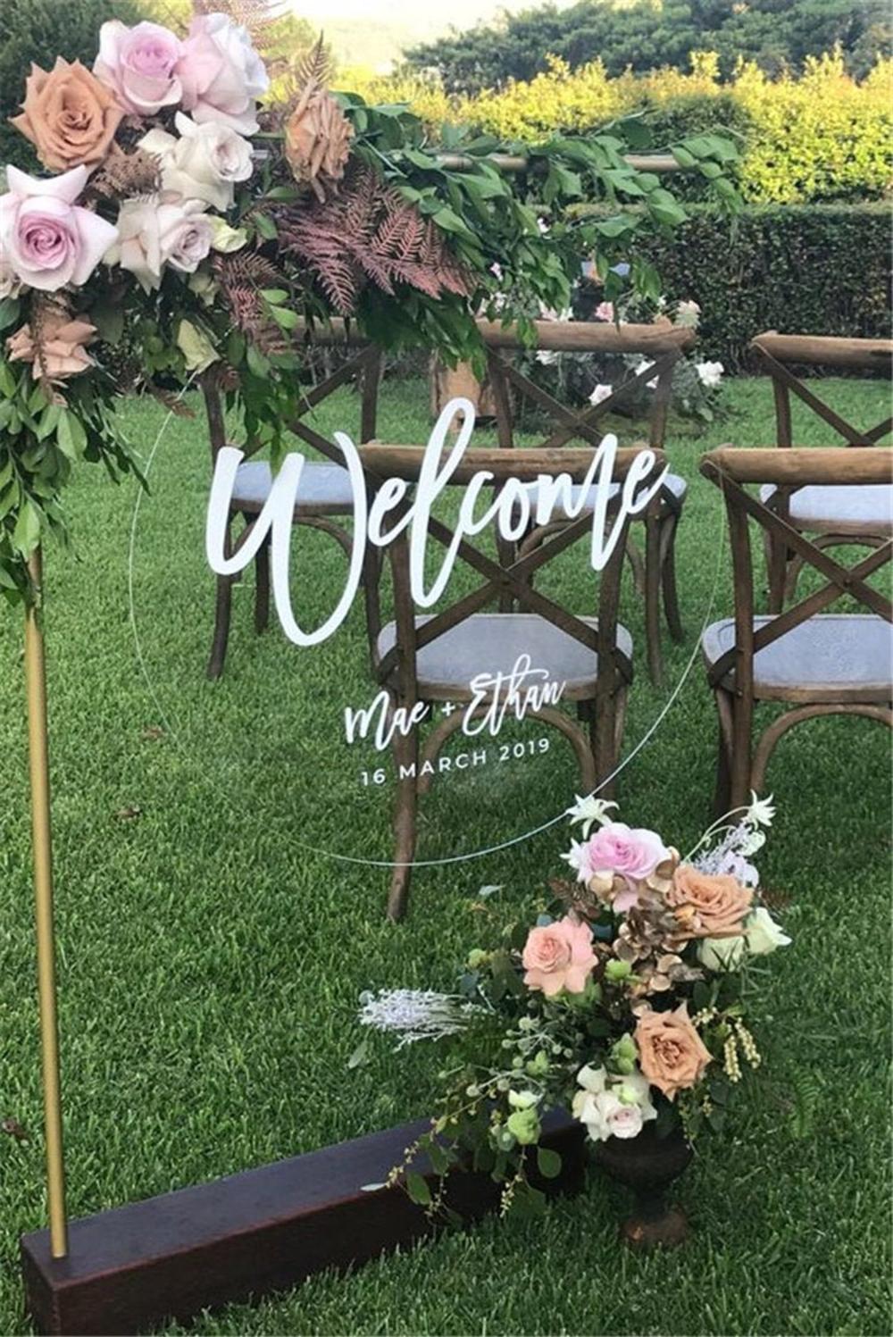 Acrylic Round Wedding Welcome Sign, Wedding Decora