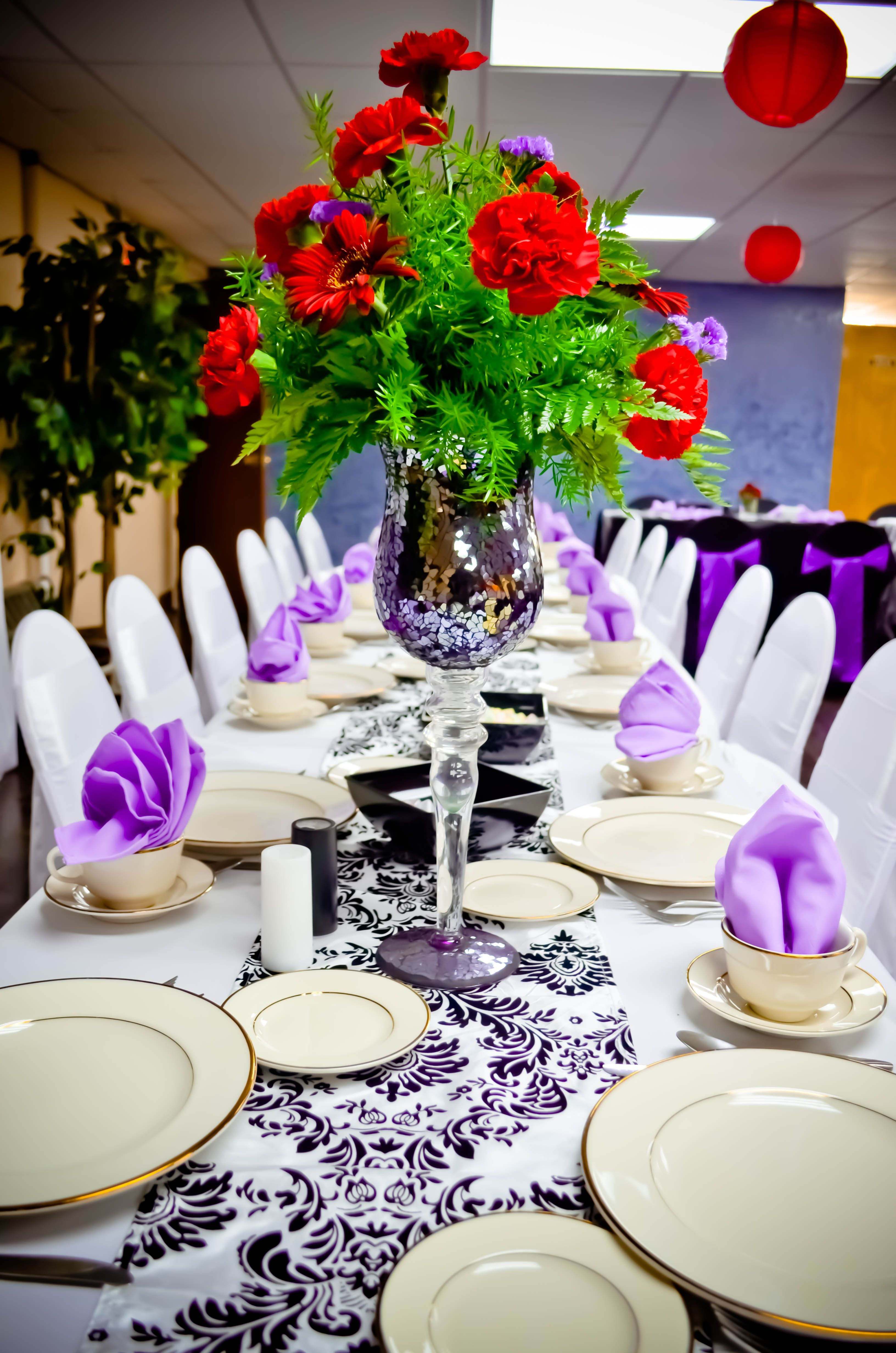 Event: Black U0026 White Spandex Chair Covers, Purple Satin Sashes, White Polyester  Tablecloths