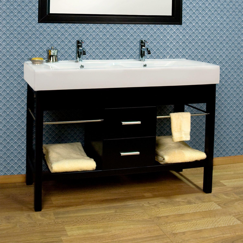 48 manhattan double console vanity cabinet new bathroom - Small double sink bathroom vanities ...