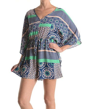 Love this Neon Mint Sunspot Cape-Sleeve Romper by Adrienne on #zulily! #zulilyfinds  http://www.zulily.com/invite/agiddens879