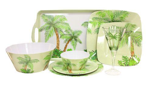 tropical palm melamine plastic dishes, plastic dinnerware, plastic ...