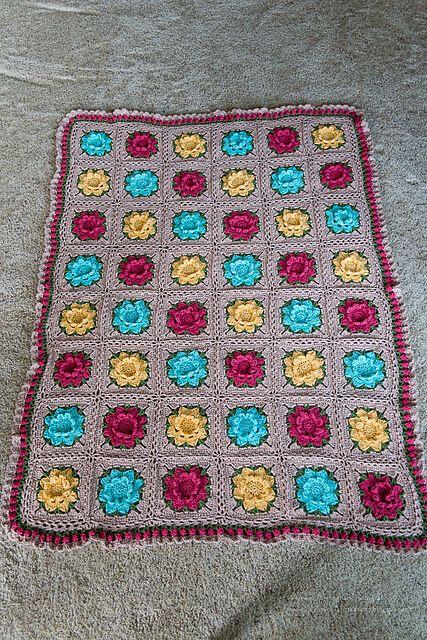 Rebekah\'s Flower Square Motif – Free Pattern | crochet bianket ...