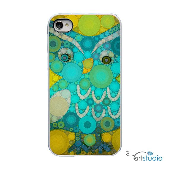 Teal Yellow Circles Owl White iPhone Case  IPhone 4 by artstudio54, $20.00