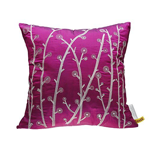 DOZZZ Clearance Sales Decorative Pillow Luxury Handmade Dandelions with Crystal Accent Pillow Faux Silk Floral Couch Throw Pillow Decor 18 x 18 Inches INCLUDES 18 x 18 PILLOW INSERT -- Click image to review more details. (This is an Amazon Affiliate link and I receive a commission for the sales)