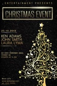 christmas event concert poster template black and gold die cut