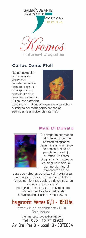 """Viernes 12 19:30 hs.  Inauguración de muestras en Sala Mayor- Gal. Caminarte Córdoba. Sala Mayor: """"Kromos"""" de Carlos Danto Pioli (pinturas) y Malú Di Donato – (fotografías)"""