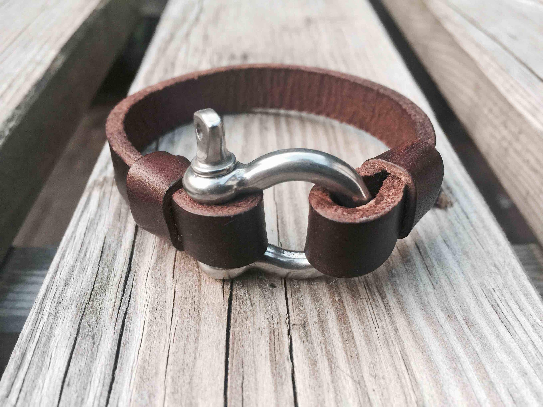 Broa Co Handmade Unisex Leather Bracelet With Shackle Fastener