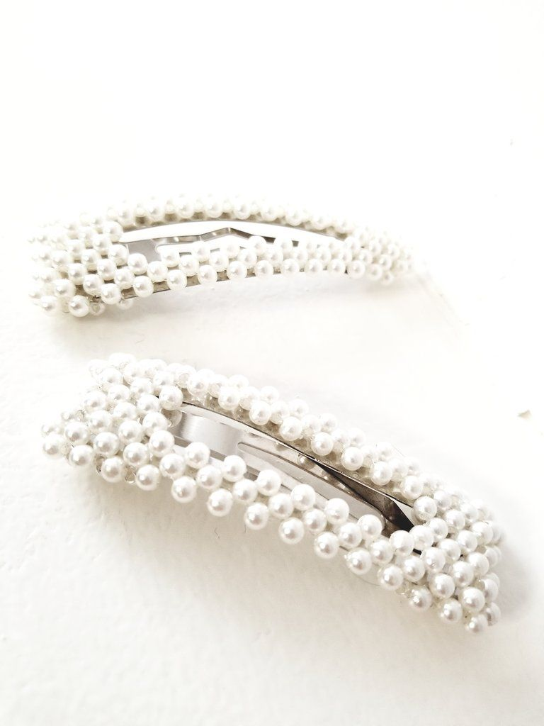 Big Ivory Faux Pearl Beaded Metal Snap Hair Clip Tic Tac Barrette Hairpin Women