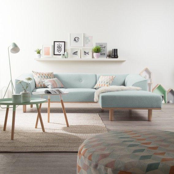 Ecksofa Aya in Stahlblau mit Longchair rechts jetzt online kaufen
