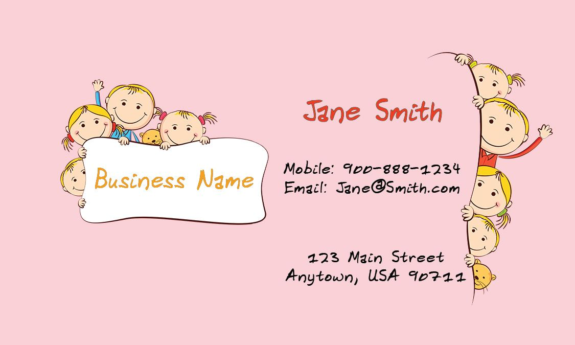 Babysitting business card design 1101081 printifycards babysitting business cards free 85 best business card imagestemplatesideasgraphics images on child care business cards babysitting templates flashek Gallery