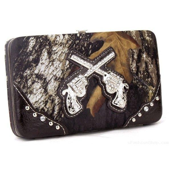Camo Gun Wallet Western Ladies Womens Bling Rhinestone Pistol