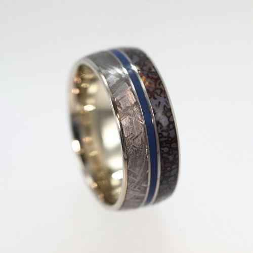 Dinosaur Bone Ring Titanium Band With Gibeon Meteorite And Blue Enamel Pinstripe Mens Wedding Bands Unique Mens Wedding Bands Meteorite Mens Wedding Bands