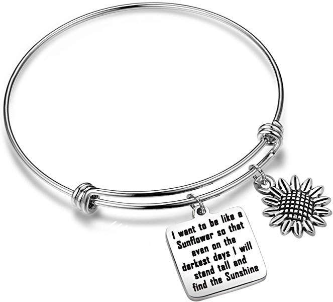 16dfed6ff Amazon.com: KUIYAI Sunflower Charm Bracelet I Want to be Like a Sunflower  Floral Bangle (Sunflower Bracelet): Jewelry