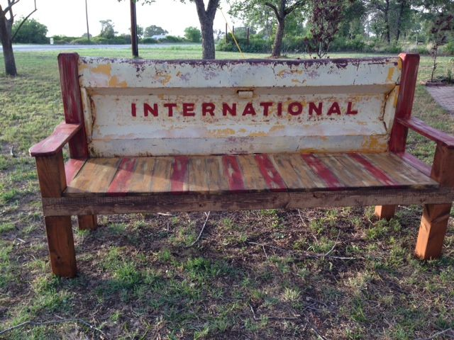 International pick up tail gate made into a bench heck for International decor gates