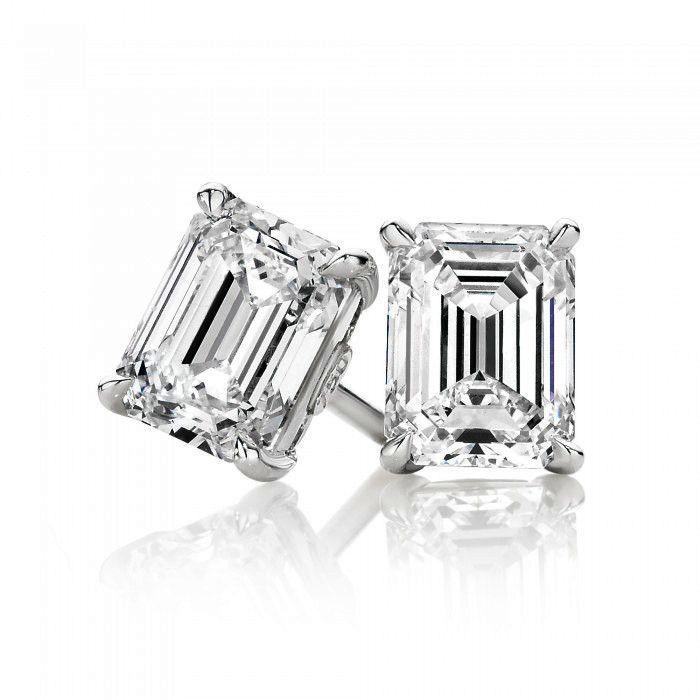 4tcw Emerald Cut Russian Lab Diamond Earrings Birthday Graduation Wedding Anniversary