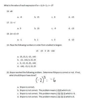 7th Grade Integers Test - Math Common Core | School