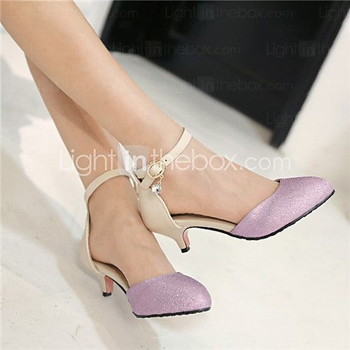 Women's Shoes Kitten Heel Pointed Toe Pumps/Heels Dress/Casual Black/Purple/Gold - USD $29.74