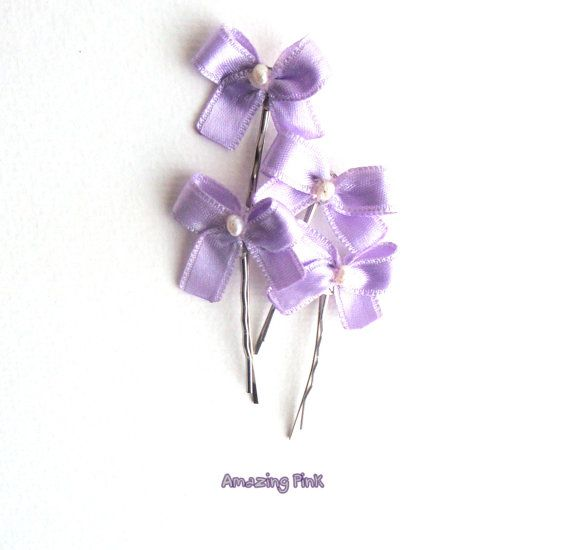 """Bobby Pins for Kids /Bow Hair Pins / Bridal Hair Accessory /Light Violet Bow With Pearls on 2"""" silver bobby pins / Set of 4 on Etsy, $13.61 CAD"""