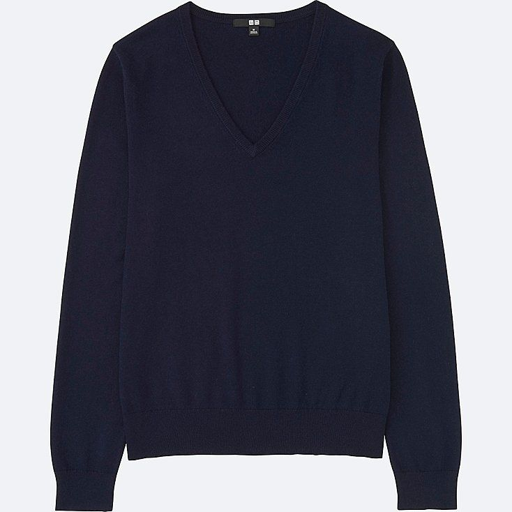 Women cotton cashmere v-neck sweater | Cashmere, Uniqlo and Cotton