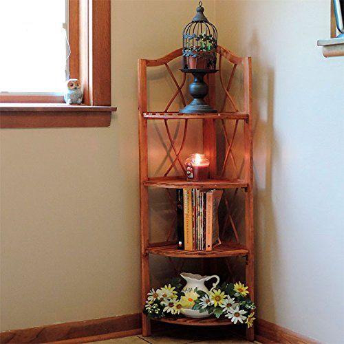 Lavish Home 4-Tier Wood Folding Corner Display Shelf $48.03 (13% OFF)