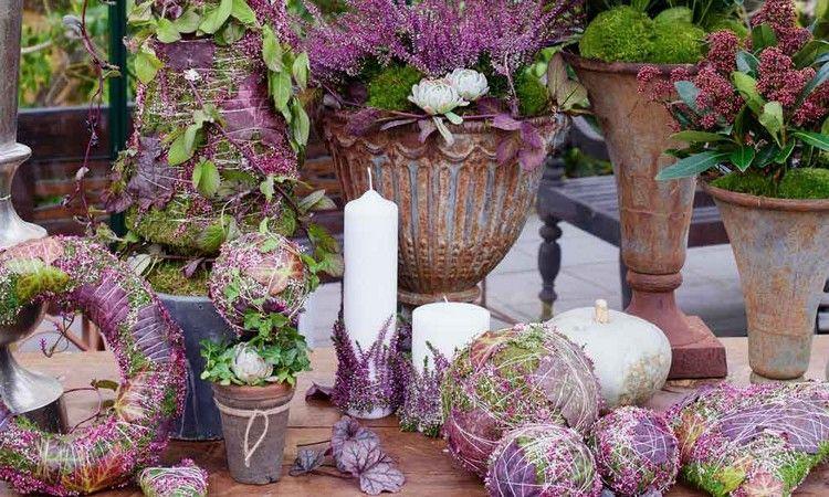 mit erika heidekraut haus und terrasse herbstlich dekorieren nature crafts pinterest. Black Bedroom Furniture Sets. Home Design Ideas