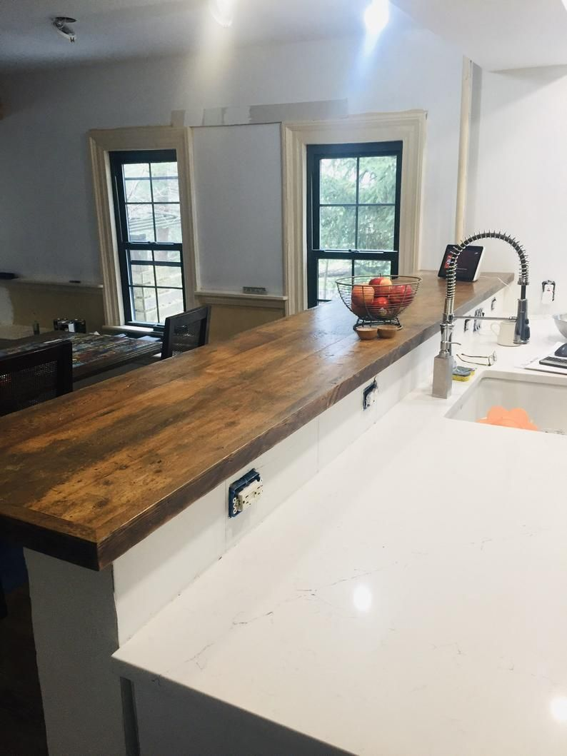 Kitchen Island Wood Reclaimed Custom Made Cabinet Counter Top Etsy In 2020 Wooden Countertops Kitchen Bulkhead Kitchen Kitchen Redesign