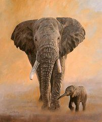Animal Paintings: David Stribbling - Art - African Elephants  by David Stribbling