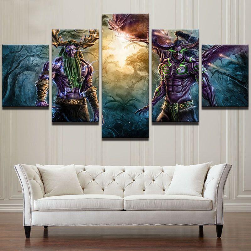 5pcs World of Warcraft Abstract HD Painting Printed Canvas Wall Art ...