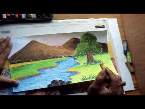 How To Draw A Landscape With Mountains River In Pastel Color Youtube Easy Landscape Paintings Drawings Painting