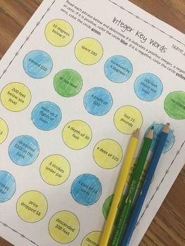 Integer Key Words Coloring Worksheet  Worksheets Coloring and