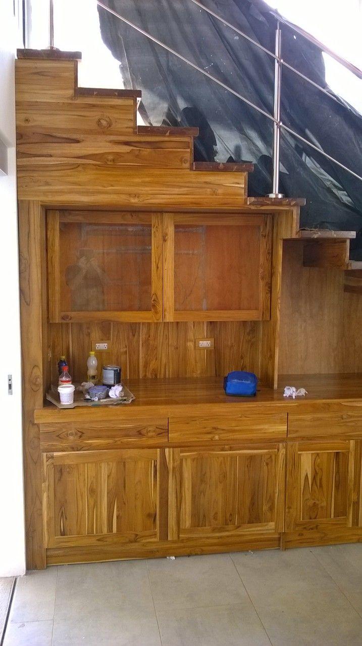 Gradas Con Mueble De Bar En Madera De Teca Muebles Pinterest # Muebles Rafaela
