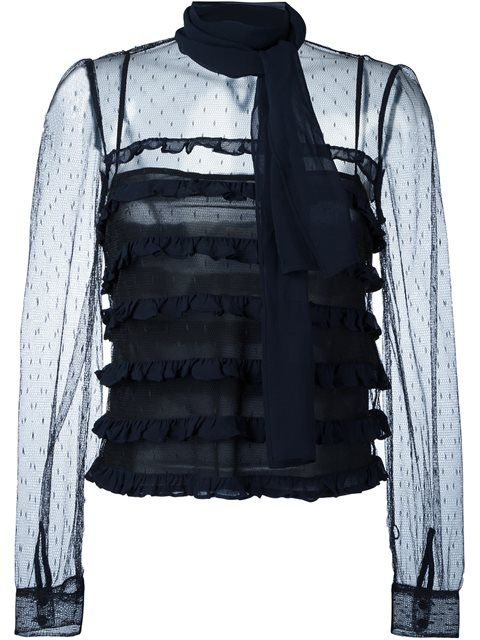 RED VALENTINO Sheer Tulle Blouse. #redvalentino #cloth #blouse