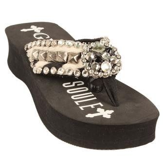 91d7ba25e2ef80 Gypsy Soule Flip Flops BW-Mary M 8 Black Patent Gator Zebra Patch Clear  Crystals Antique Pyramid Center Row Round Antiqued Concho with Rhinestones