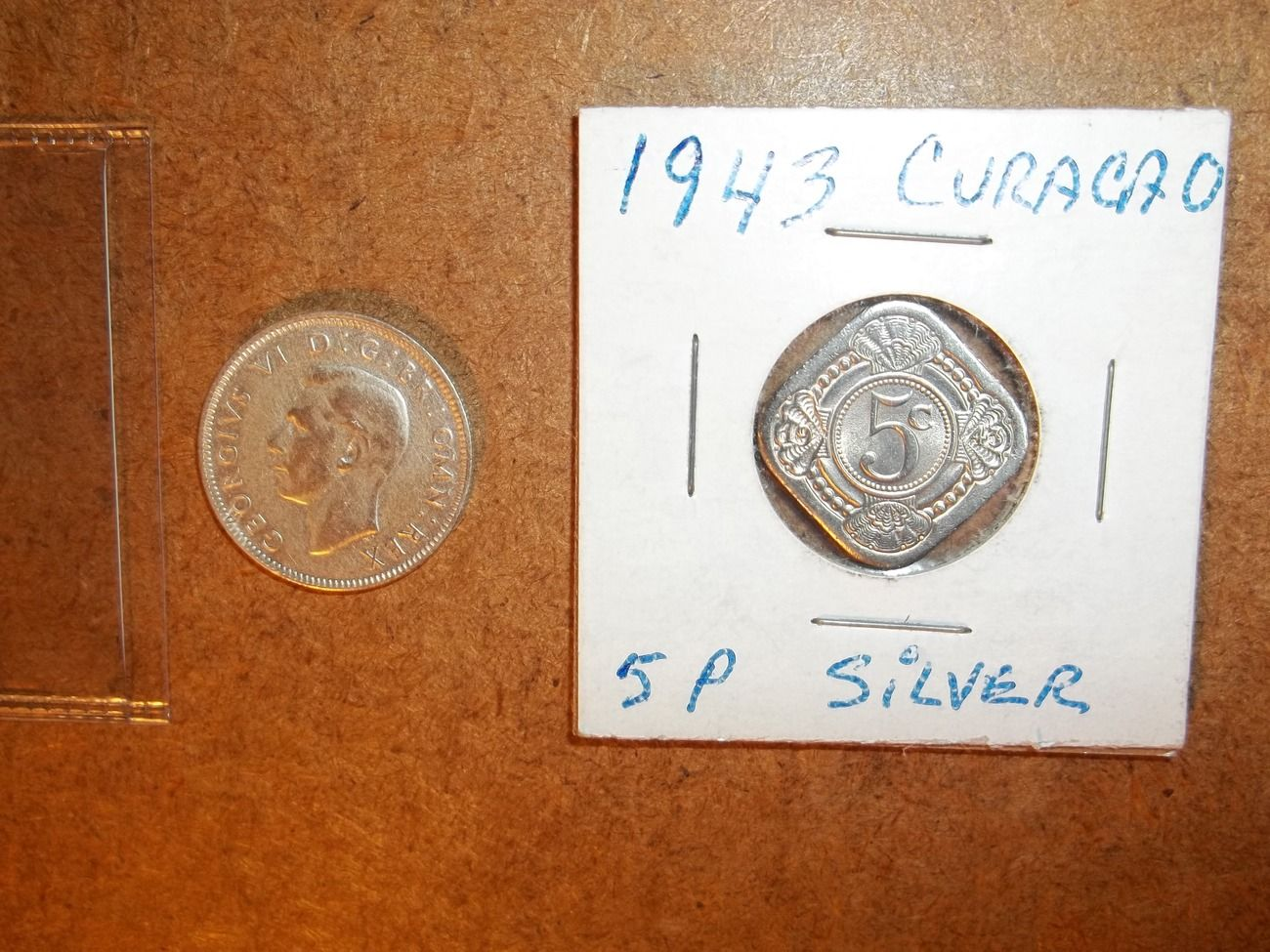 1942 Silver Schilling From Great Britain And 1943 Curacao 5 Cent