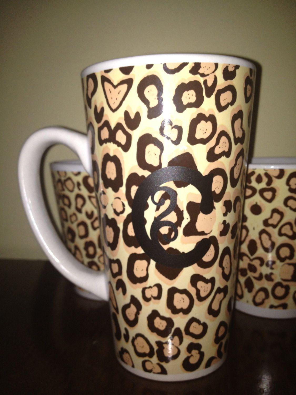 personalized monogrammed cheetah print coffee mug C via ...