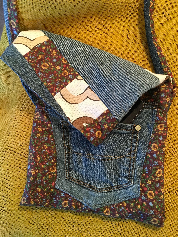 9a47fa4061 Handmade Upcycled Fabric Denim Crossbody Purse - Small Fabric ...