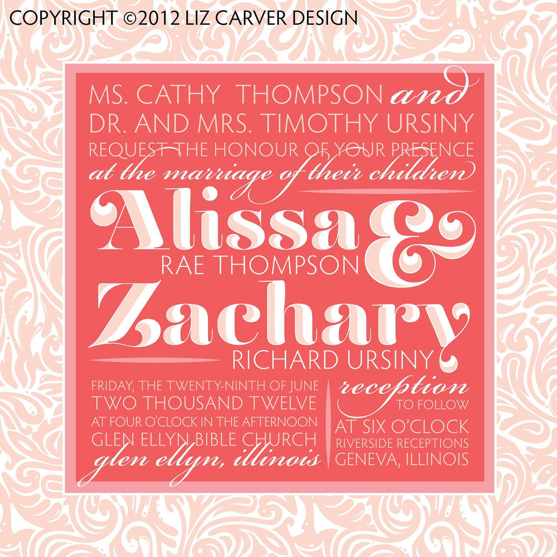 Coral & Nude (Neutral) Damsak Paisley Chevron Typographic Wedding ...
