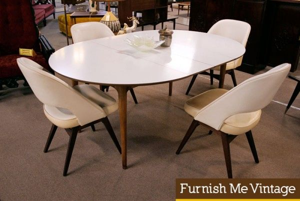 Vintage Danish Style Oval White Top Dining Table White Oval