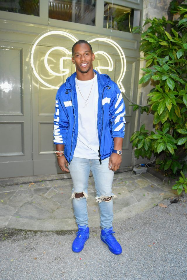 24d90cf1094d Victor Cruz Attends GQ x Milan Fashion Week Event Wearing Moncler x  Off-White Jacket and Just Don x Air Jordan 2 Sneakers