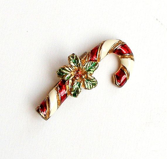 1940\u0027s Candy Cane Pin Vintage Christmas Brooch Red White Green Holly