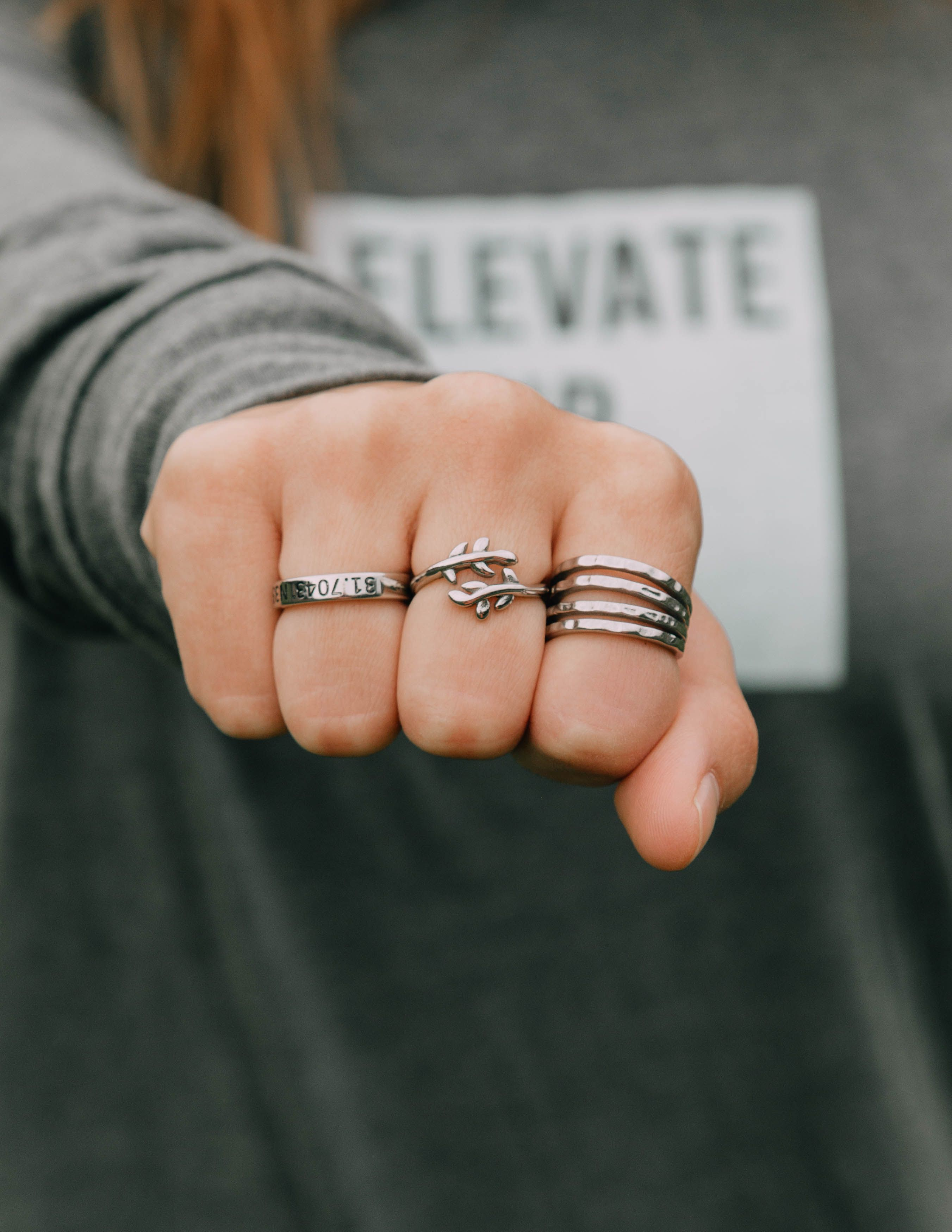 Olive Branch l Layered Ring l Coordinates Ring l Christian