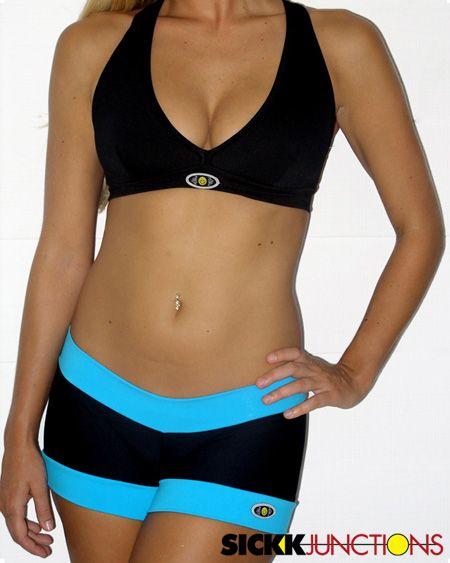 1c11e05619fb7 Brazilian Workout Wear  Two Color Jiu-Jitsu Shorts and Halter Top Set Two  color Supplex ® shorts