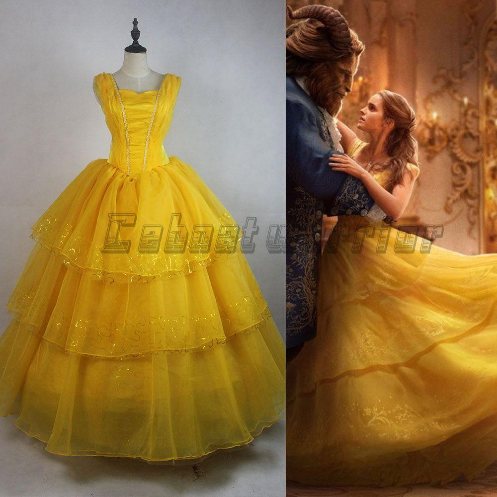 2017 New Movie Beauty And The Beast Princess Belle Emma Watson Adults Cosplay Costume Yellow Dress
