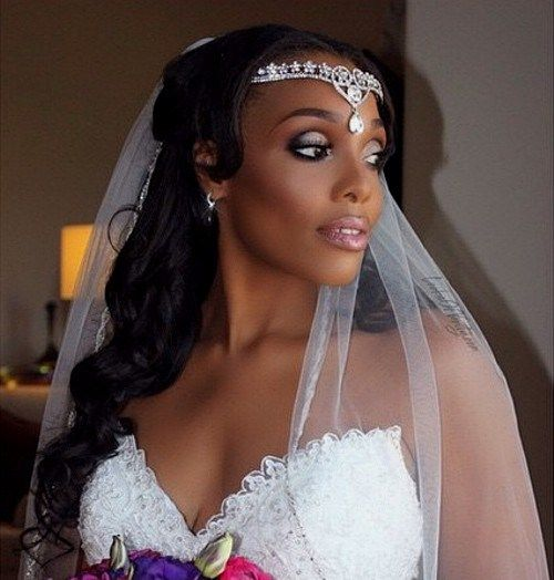 half up curly black hairstyle for bridal veil