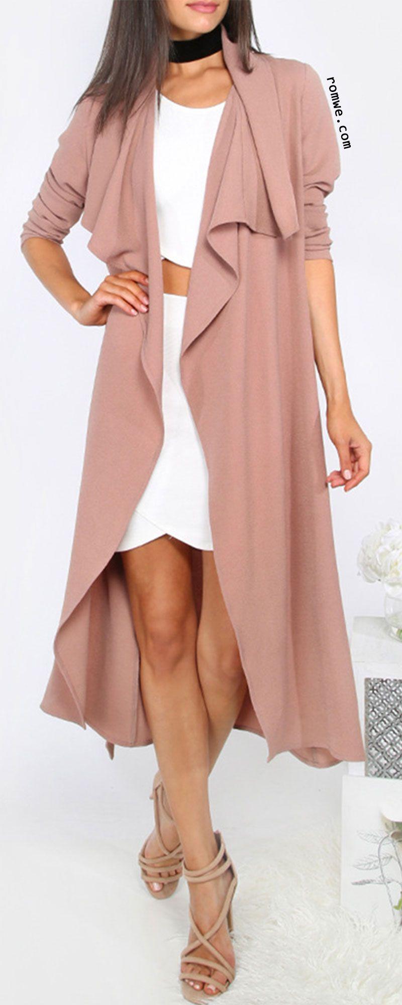 Coffee Lapel Tie Waist Long Sleeve Outerwear | °My Style ...