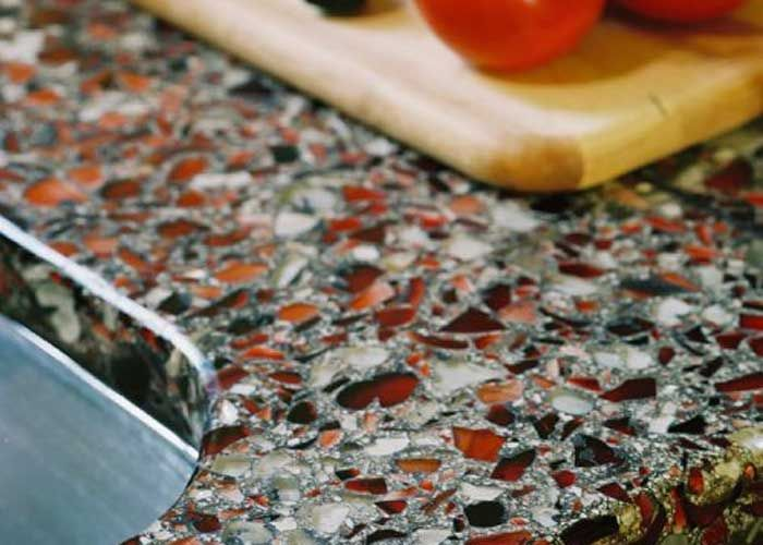 Terrazzo Countertop Made With Recycled Pieces Of Other Stones And Hard Surfaces Which Is Env Recycled Glass Countertops Glass Countertops Eco Friendly Kitchen